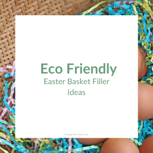 shredded paper with brown eggs and eco friendly easter basket filler ideas text overlay