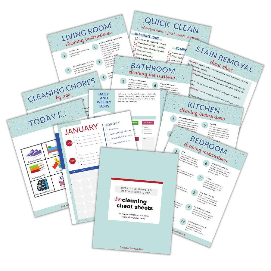 bundle of printable pages about how to keep your home clean