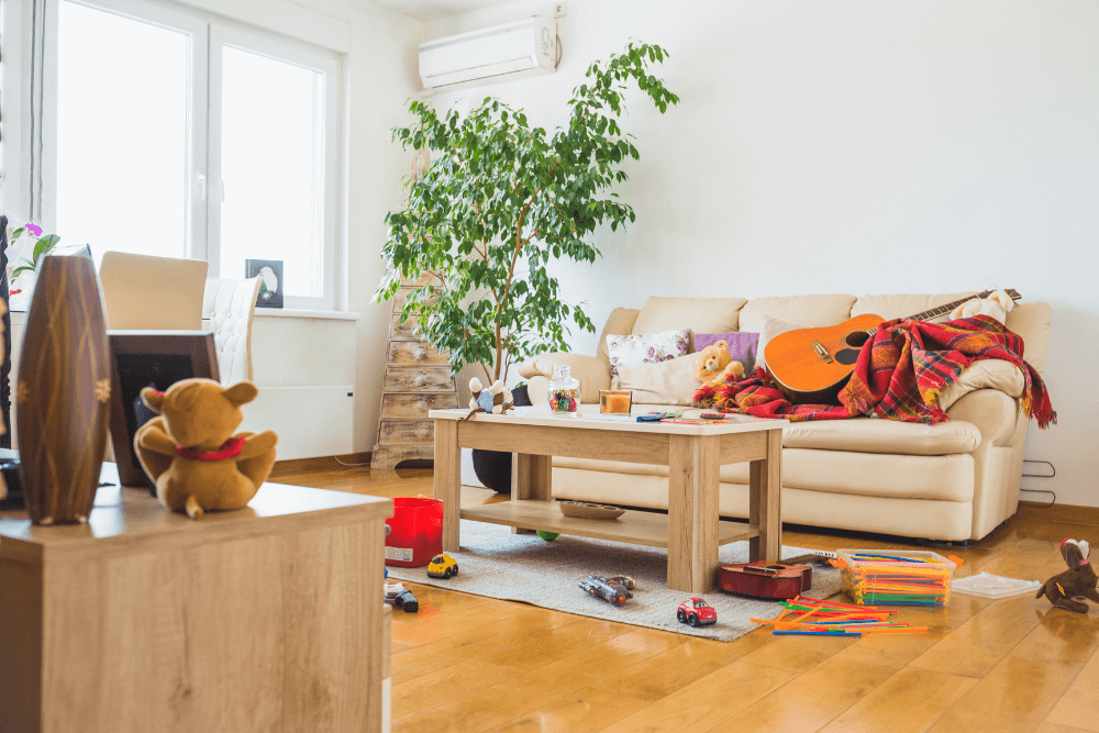 messy living room