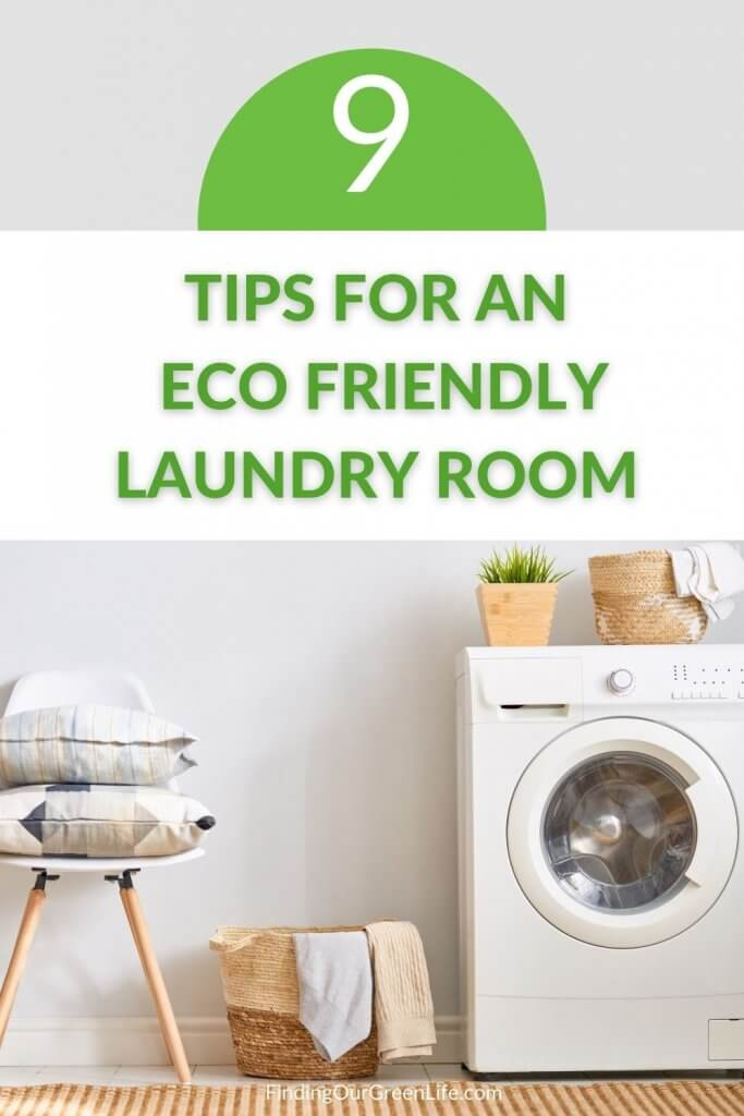 eco friendly laundry room with washing machine and chair with pillows on top