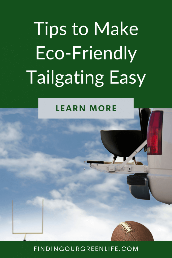 truck with grill and football with eco-friendly tailgating text overlay