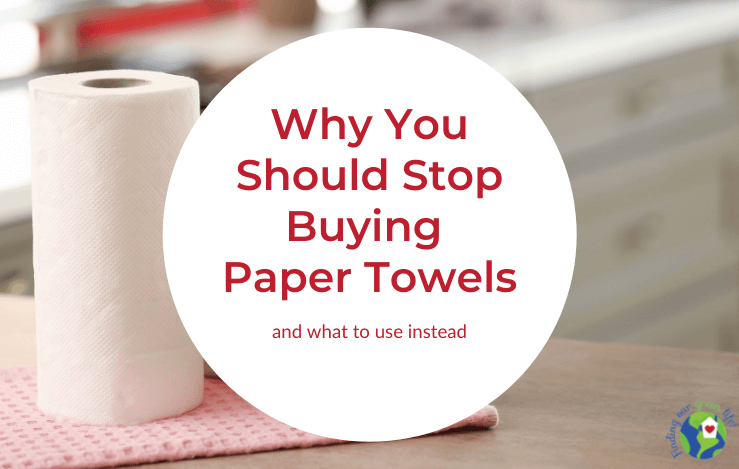 paper towels with how to stop buying paper towels text overlay